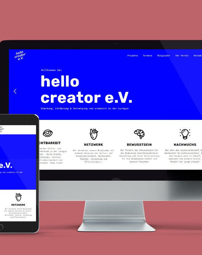 Responsive Webdesign für den hello creator e.V. von der Yip Yips Agentur