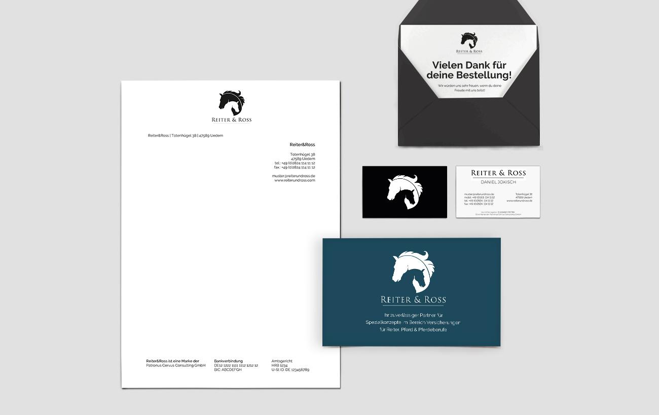 Geschäftsausstattung, Briefpapier, Umschläge, Visitenkarten, Infobroschüren für ReiterRoss von der Yip Yips Agentur Aachen