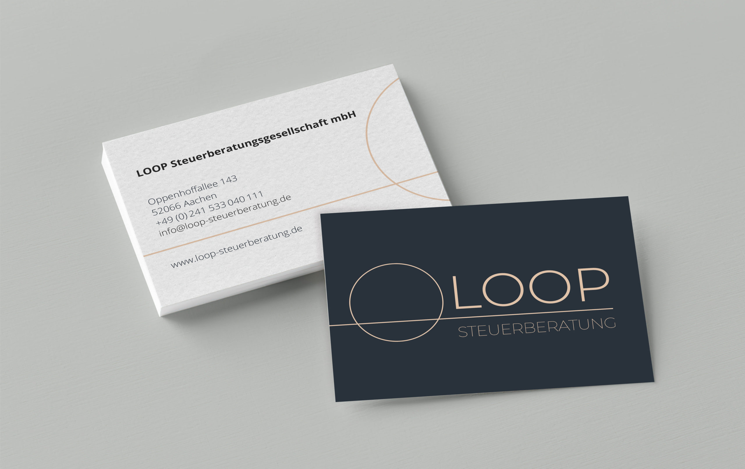 Visitenkarten Design der Loop Steuerberatung, Corporate Design