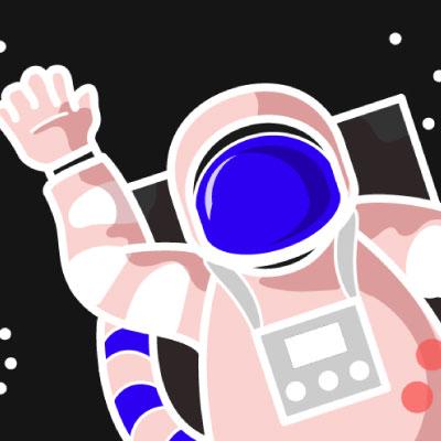Astronaut vor schwarzem Hintergrund