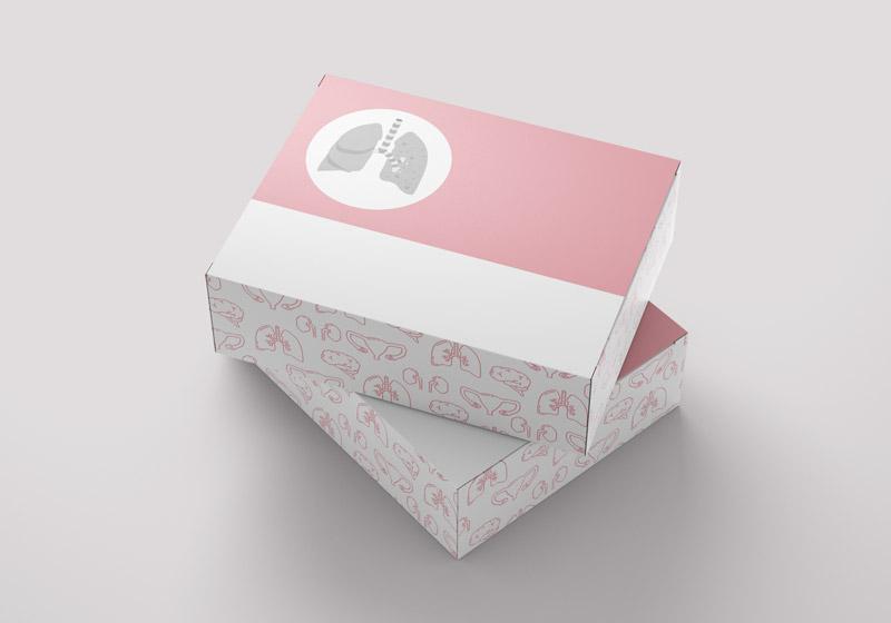 Beispiel für ein Packaging für ein Medizinprodukt mit medizinischen Illustrationen