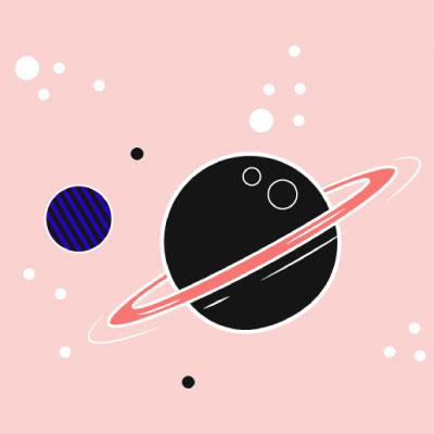 Planeten vor rosa Hintergrund