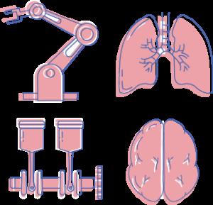 Icons eines Krans, einer Lunge, eines technischen Gerätes und eines Gehirns als Darstellung des Leistungsspektrum der Yip Yips Agentur im Bereich technische und wissenschaftliche Illustrationen