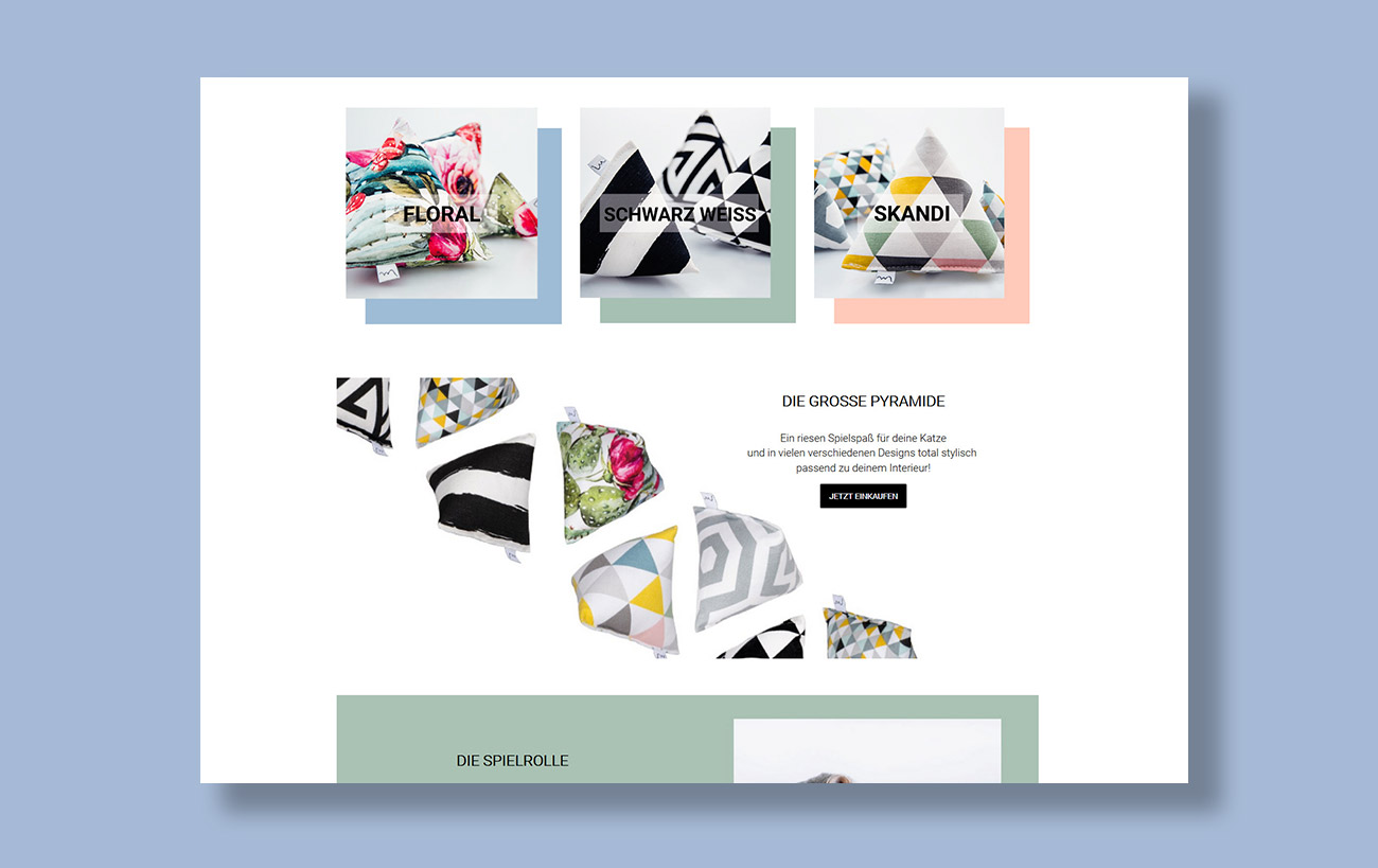 Webseite und JTL-Shop 5 Minoumi designed cat toys, Produktfotos und Informationen in Grid