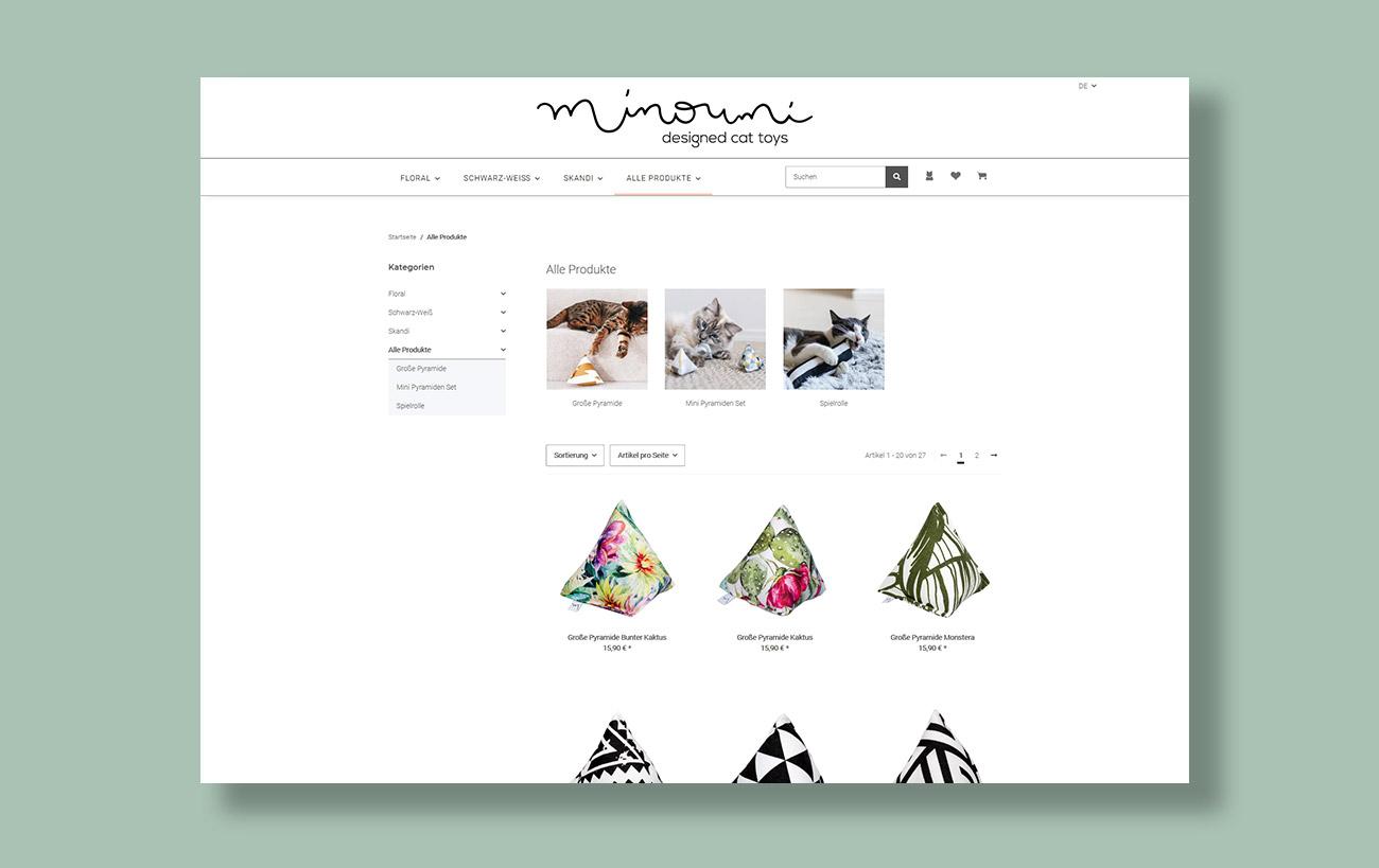 Webseite und JTL-Shop 5 Minoumi designed cat toys, Übersichtsseite der Produktsuche