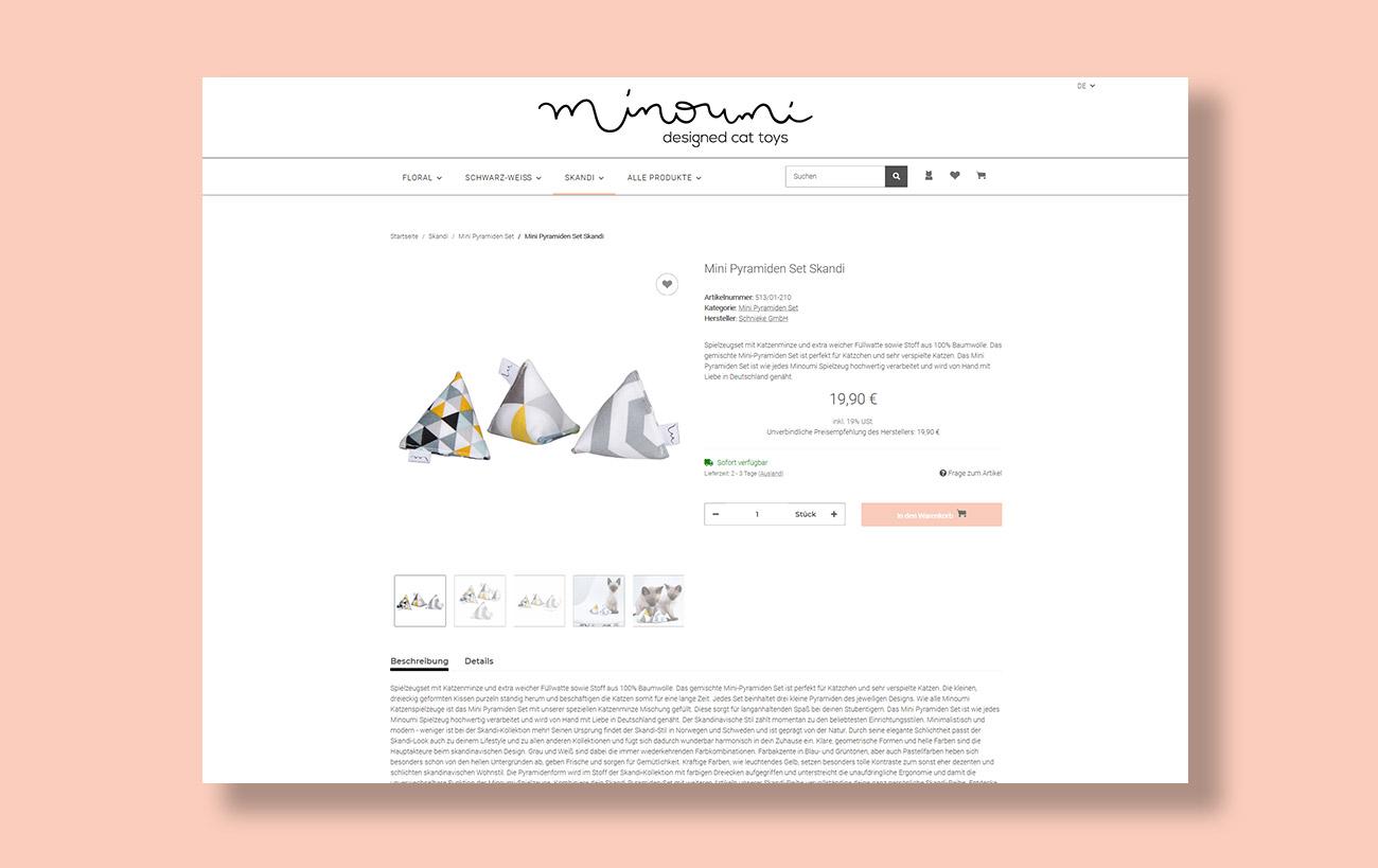 Webseite und JTL-Shop 5 Minoumi designed cat toys, Einzelseite Produktpräsentation