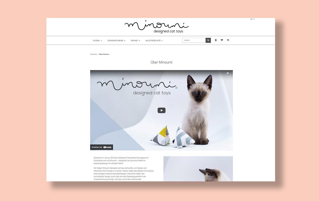 Webseite und JTL-Shop 5 Minoumi designed cat toys, Über Uns-Seite mit Informationen und Produktvideo