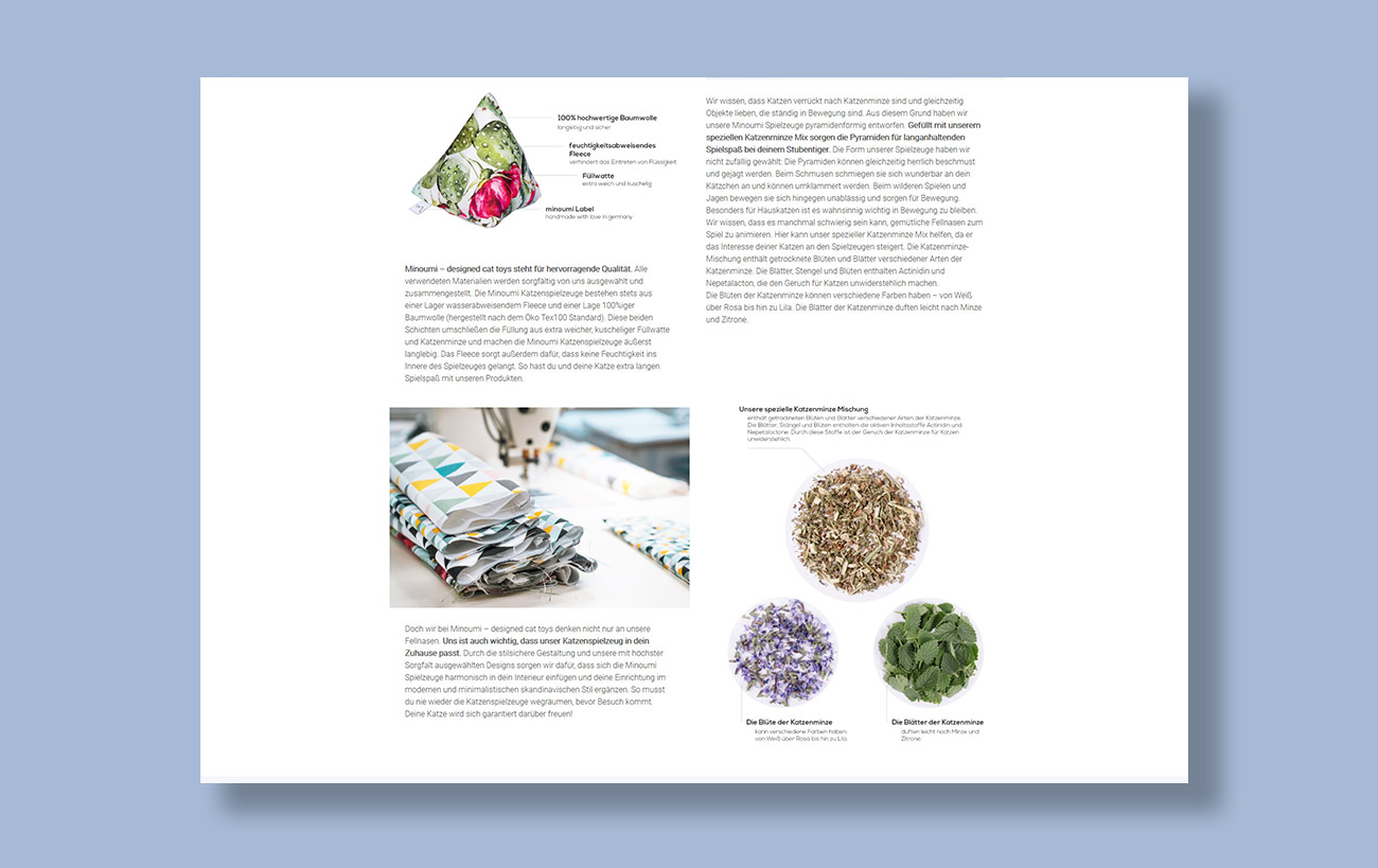 Webseite und JTL-Shop 5 Minoumi designed cat toys, Über Uns-Seite mit zusätzlichen Fotos und Infografiken