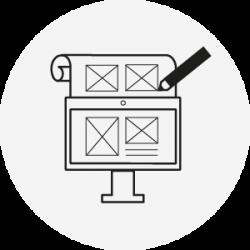 Icon mit Stift Bildschirm und Papier